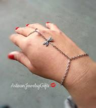 Bohemian Slave Bracelet Silver Dragonfly Hand Chain Silver Dragonfly Sla... - $30.00