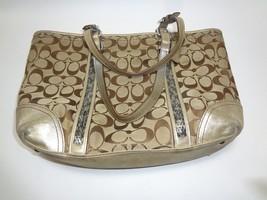 Authentic Coach Signature Jacquard Tote Bag #G05M-8K49 Brown Handbag Purse  - ₹2,820.06 INR