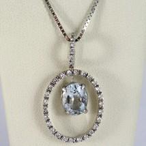 18K WHITE GOLD NECKLACE, OVAL AQUAMARINE PENDANT, DIAMONDS FRAME, VENETIAN CHAIN image 1