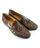Nordstrom Mens Loafers Size 13 M Brown Leather Slip On Tassel Casual Shoes - $39.77