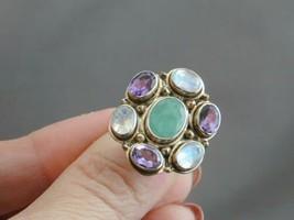 FAB Nicky Butler Sterling Emerald/Green Corundum Amethyst Moonstone Ring... - $79.99