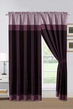 4-Pc Landon Pleated Stripe Curtain Set Purple Lavender Lilac Drape Sheer Liner - $40.89