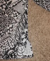 COMFY 3/4 SLEEVE WHITE BLACK FLORAL SHEER BUTTON DOWN SHIRT TOP BLOUSE SLIT 14 L image 3