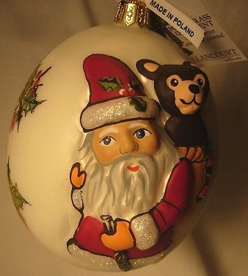 Vaillancourt Folk Art Hand Blown Santa  and Teddy Ornament