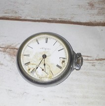 Antique ELGIN Pocket Watch 7 Jewels Silver COLORED Case 8159946 0503435 Empire - $36.37