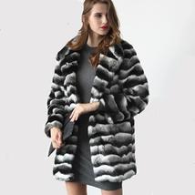 Women's Soft Luxury Chinchilla Faux Fur Winter Fashion Runway Coat image 2