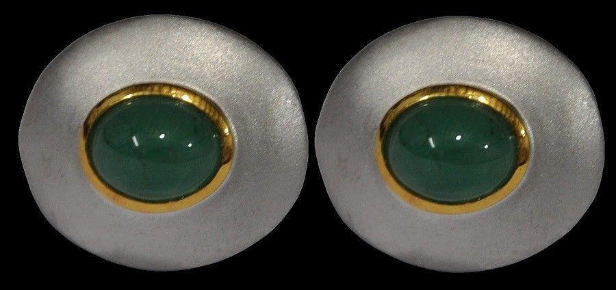 925 Sterling Silver Natural Fine Quality Emerald Gemstone Handmade Front Gold Pl image 4