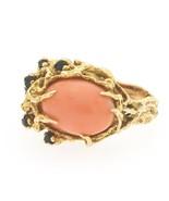 Vintage Heavy 1960s Retro 14k Gold Freeform Salmon Coral Sapphire Diamon... - $1,777.05