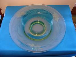 """Green Vaseline glass etched 10 """" serving bowl. - $25.00"""