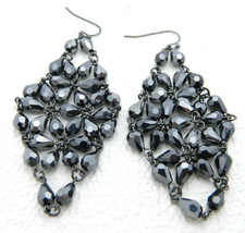 Vintage Silver Tone Black Shiny Faceted Rhinestone Bead Dangle Earrings - $19.80