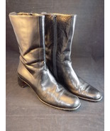 LADIES COLE HAAN BLACK LEATHER Mid Calf SIDE ZIP BOOTS Size 8.5 AA CLEAN! - $23.75