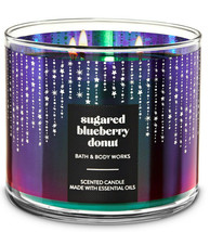 Bath & Body Works Sugared Blueberry Donut Three Wick 14.5 Ounces Scented... - $22.49