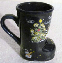 Cobalt Blue Frohe Weihnachten Ceramic Collectible Boot Coffee Mug O, 21 ... - $23.00
