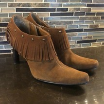 Mia Hunter cognac fringe studded leather booties - $39.65