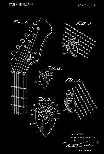 Primary image for 1971 - Guitar Pick - A. D. Paxton - Patent Art Poster
