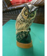 Great Wood Carved OWL Statue/Figure ..Made in Thailand - $22.36