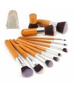 Makeup Brushes Set 11 Pcs Natural Bamboo Foundation Face Tools Women Bru... - $12.10