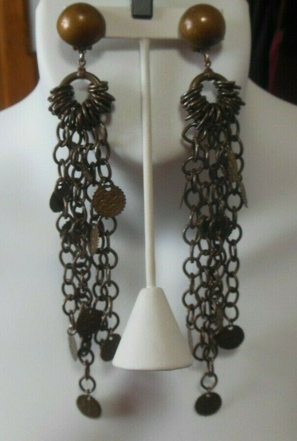 Vtg Designer Signed Laura Vogel NY Long Chain Disk Runway Dangle Clip Earrings