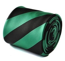 Frederick Thomas sea green turquoise and black barber striped tie FT1750