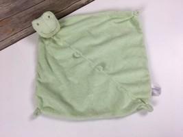 Angel Dear Green Frog Lovey Blanket Soft Velour Minky Corners Security - $5.32