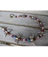 """Silver DRAGONFLY ANKLET 9.5"""" purple beads - $18.80"""