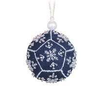 Embroidery Kit Christmas Tree Decoration, Snow Print Cross Stitch - $6.60