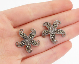 925 Sterling Silver - Vintage Marcasite Decorated Flower Drop Earrings -... - $26.93