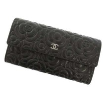 CHANEL Long Wallet Leather Gray Camellia Embossed CC Logo A82283 Italy Coco - $1,135.45