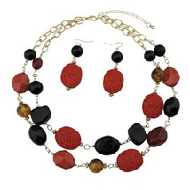 Bocar 2 Layer Statement Chunky Red Black Beaded Fashion Collar Necklace ... - $17.29