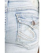 New SILVER Jeans Sale Buckle Light Low Rise Pioneer Flap Cropped Stretch... - $29.97