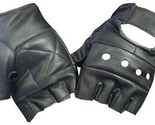 Black Leather Fingerless Motorcycle Biker Glove - Leatherbull (Free U.S.