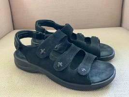 ECCO Black Nubuck Leather Slingback Comfort Sandals EUR 38 US 7 - $18.49