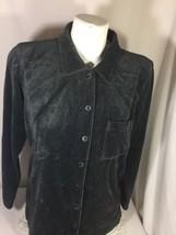 Liz Claiborne Women Gray Button Uo Shirt Size M Soild Color Long Sleeve Bin75#20 - $14.03
