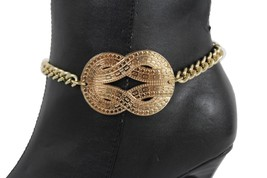 Women Boot Bracelet Gold Metal Chain Infinity Bling Shoe Anklet Charm High Heel - $17.63