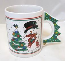 Christmas Coffee Mug w Cut Out Christmas Tree Handle Snowman More Unmarked - $24.26