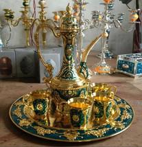 Islamic Turkish Moroccan Coffee Tea Set Arabic India Dubai Ramadan Green - $83.70