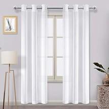 DWCN Faux Linen Sheer Curtains - Off White Semi Transparent Voile Window... - $18.98