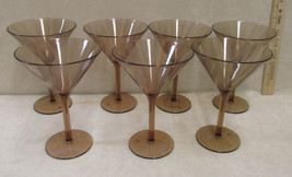 Set 7 Target Brand Brown Plastic Martini Glasses Frosted Zebra Print Ste... - $17.81