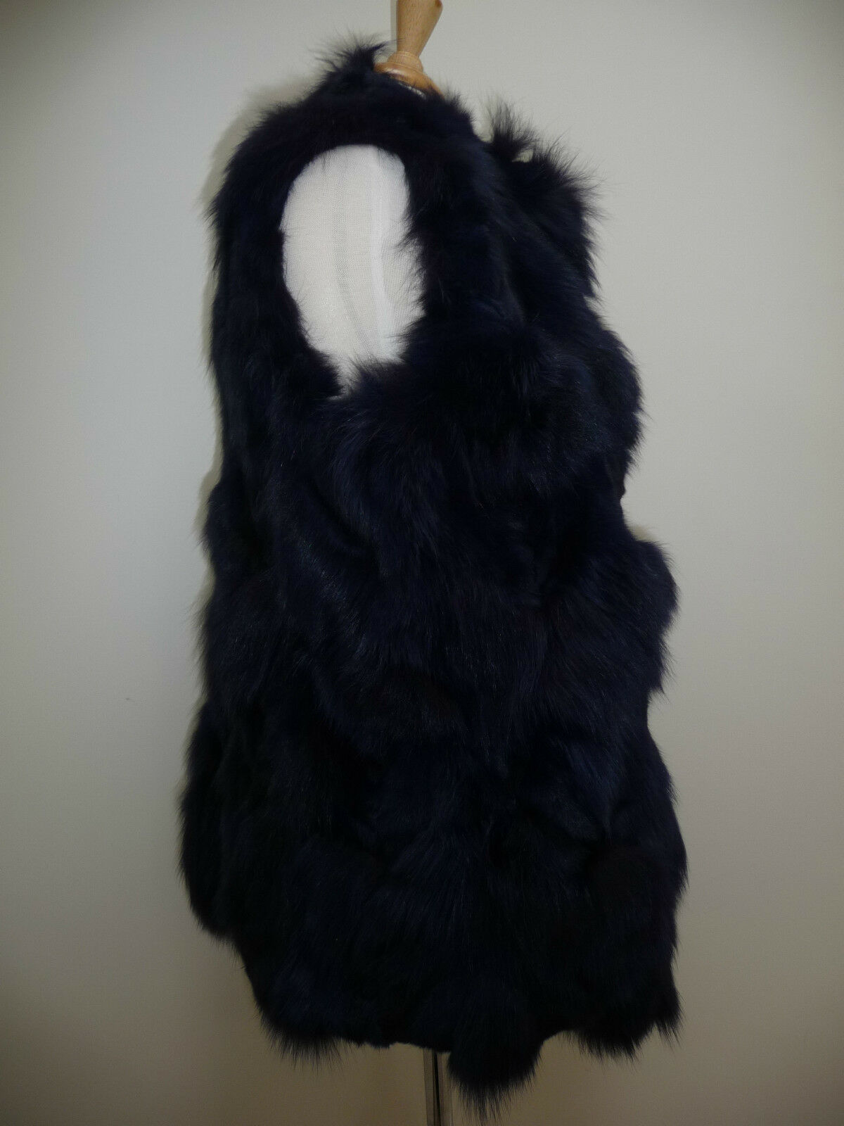 Jocelyn Bicolor Black Navy Roadie Fox Fur Vest New $1.1 image 7