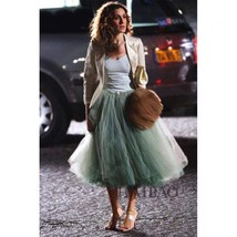 Carrie Bradshaw Tulle Skirt Outfit Plus Size Midi Tulle Green Tutu Holiday Skirt image 1