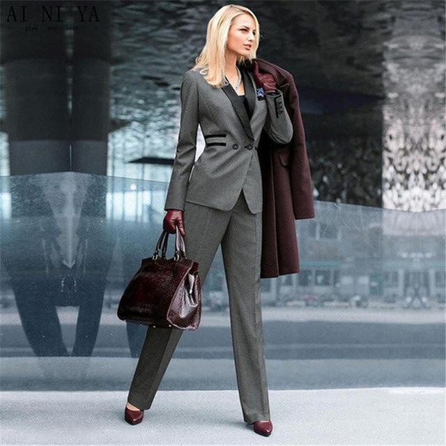 Dark grey with black lapel women s custom made slim fit 2 pieces suits women business