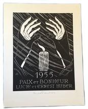 Ex Libris Exlibris Bookplate Lucie Et Ernest Huber Pair Et Bonheur 1955 - $49.49
