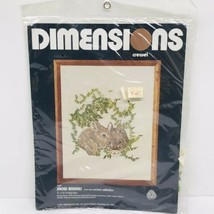 "Dimensions Crewel Snow Bunnies 1027 11"" x 14"" Vintage 1977 - $27.71"