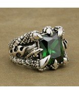 925 Sterling Silver Huge Green CZ Stone Dragon Claw Ring Mens Biker Punk... - $131.16