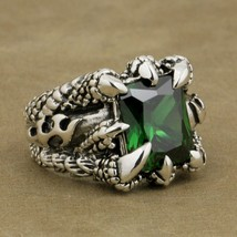 On 925 sterling silver huge green cz stone dragon claw ring mens biker punk style 8t402 thumb200