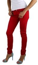 BRAND NEW LEVI'S 524 WOMEN'S SKINNY LOW RISE DENIM STUD JEANS RED 113940007 image 2
