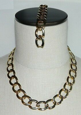 VTG Gold Tone Circle Chain Link Choker Necklace & Matching Bracelet