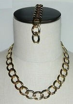 VTG Gold Tone Circle Chain Link Choker Necklace & Matching Bracelet - $39.60