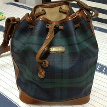POLO RALPH LAUREN BUCKET BLACKWATCH BAG HANDBAG GREEN CHECK PLAID - $296.01