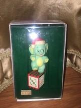 1983 Enesco Grandchild's First Christmas Ornament Cute Baby Elephant In box - $14.01